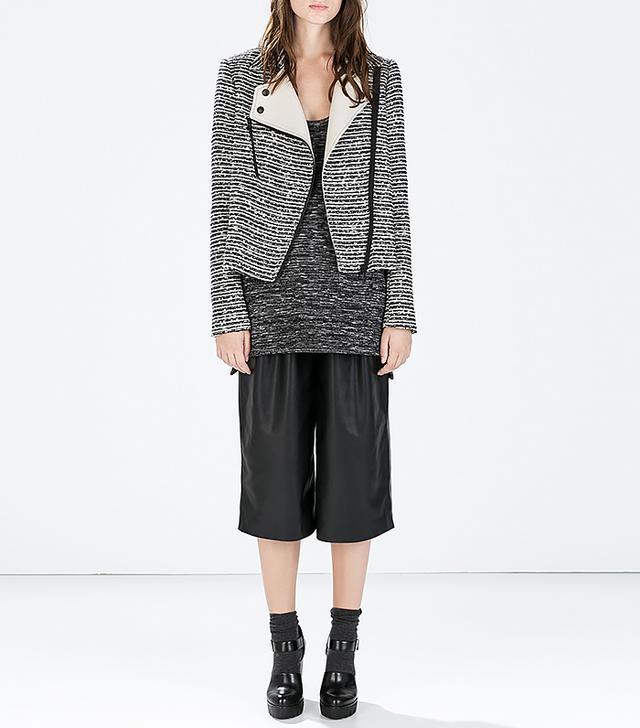 Zara Mixed Fabric Biker Jacket