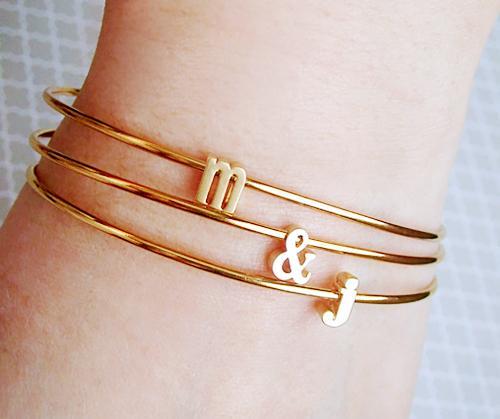 Tom Design Tiny Gold Initial & Ampersand Bracelet