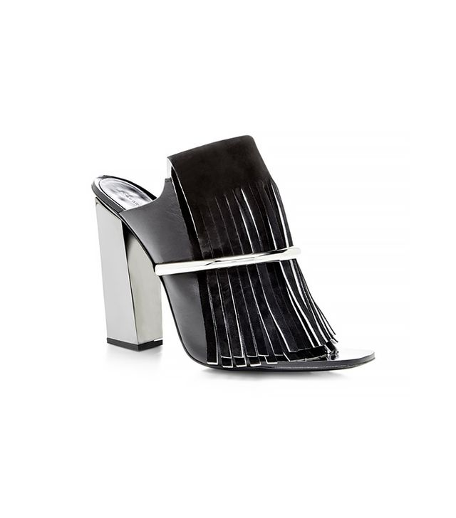 Proenza Schouler Black Fringe Mule With Nickle Heel