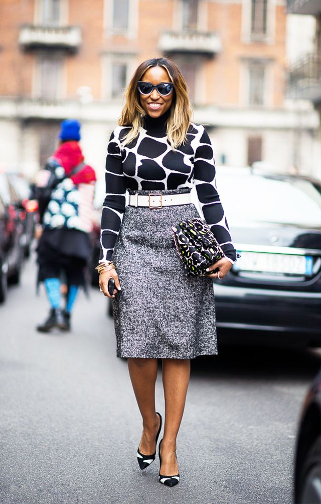 Style Tip: Go for an adventurous office look like Cosmopolitan's Shiona Turini, and layer an animal-print top underneath a high-waisted wool skirt.