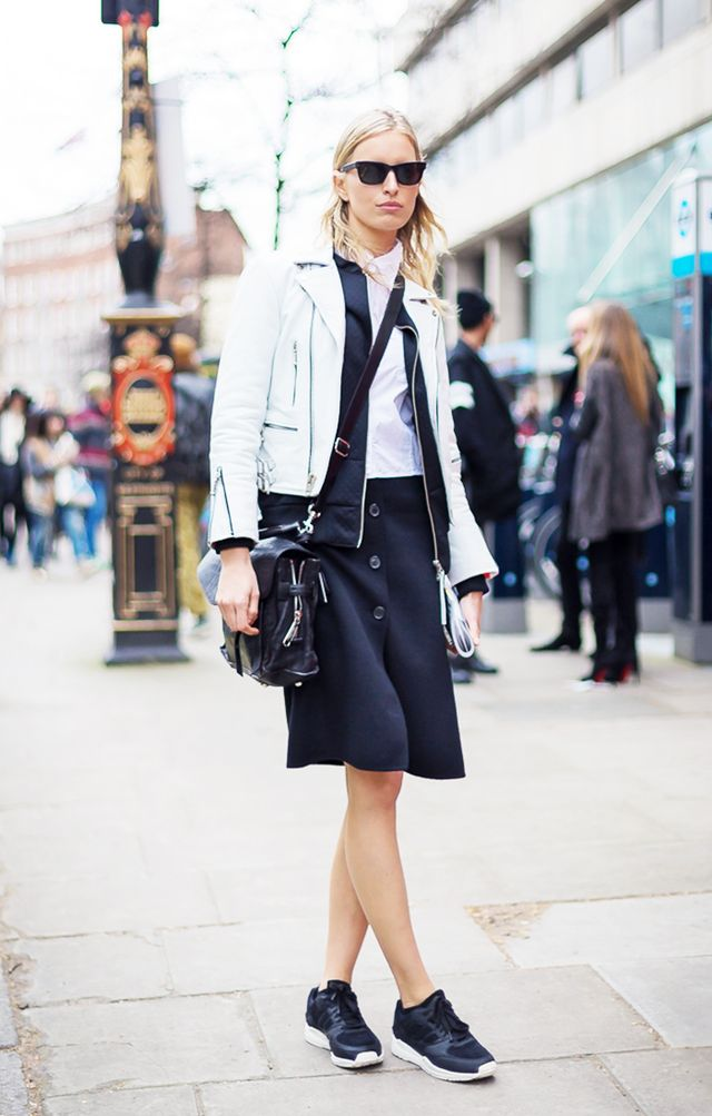 Style Tip: Give your skirt street cred and pair it with a leather moto jacket and sneakers.