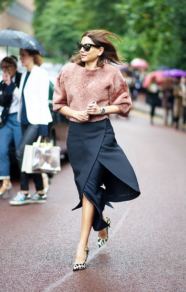 Style Tip: Team up a furry top with an envelope skirt for a thoroughly cool look.