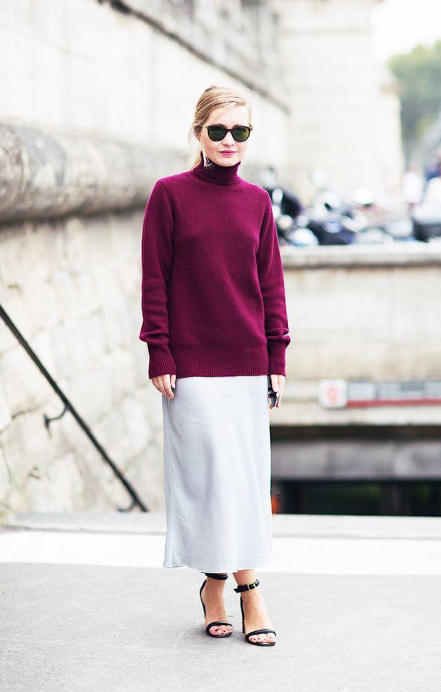 Style Tip: For an unexpectedly sexy duo, wear a jewel-toned turtleneck with a silk skirt and ankle-strap heels.