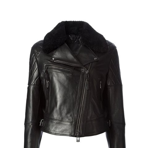 Shearling Collar Biker Jacket