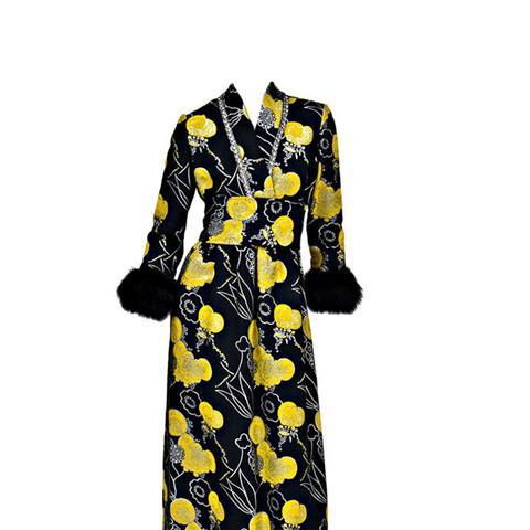 1960s Kimono Style Gown with Mink Fur