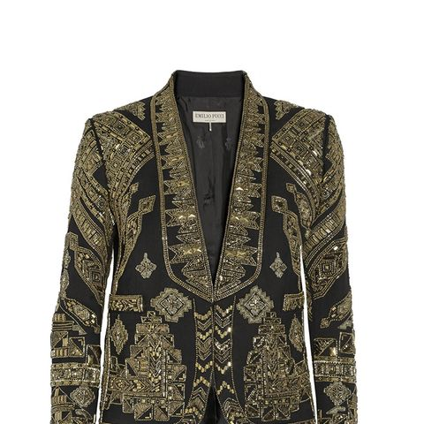 Cropped Embellished Wool and Silk-Blend Twill Jacket