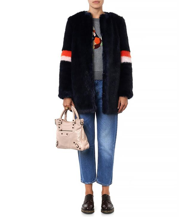 Shrimps Joseph Navy Faux-Fur Coat