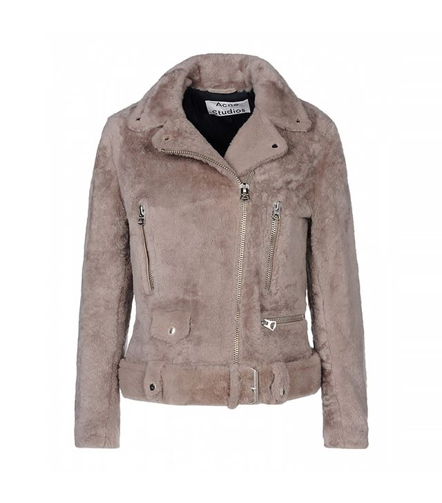 Acne Studios Mock Felted Shearling Moto Jacket
