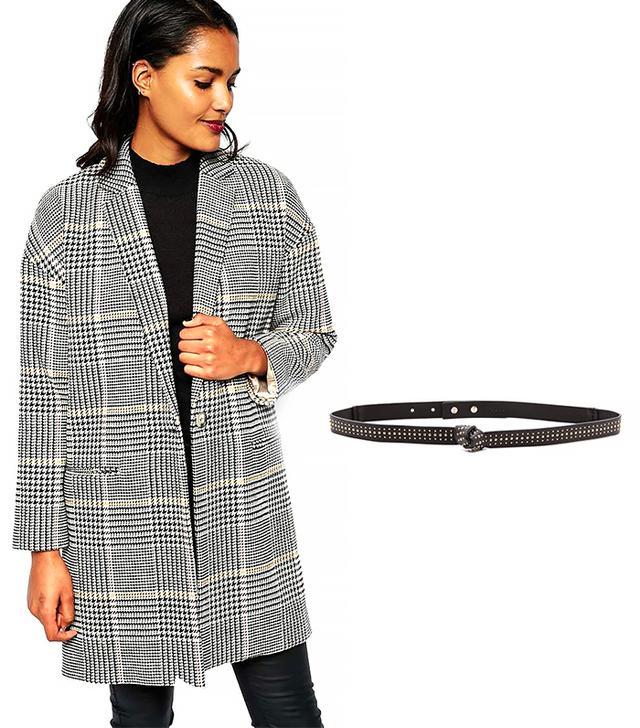 River Island Check Boyfriend Coat