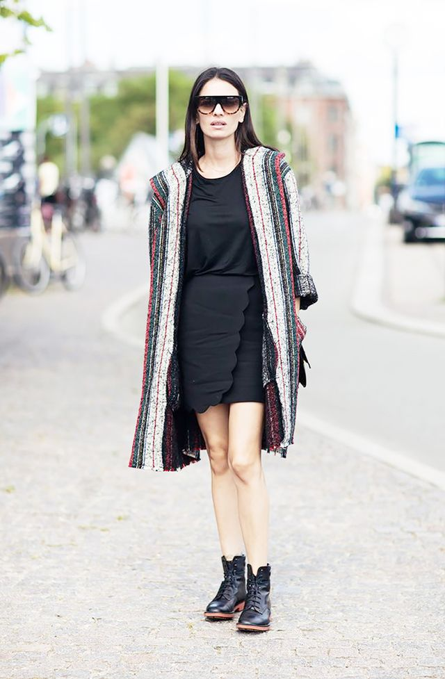 Styling tip: Transition into fall seamlessly by wearing a longer blanket coat over a skirt or dress: