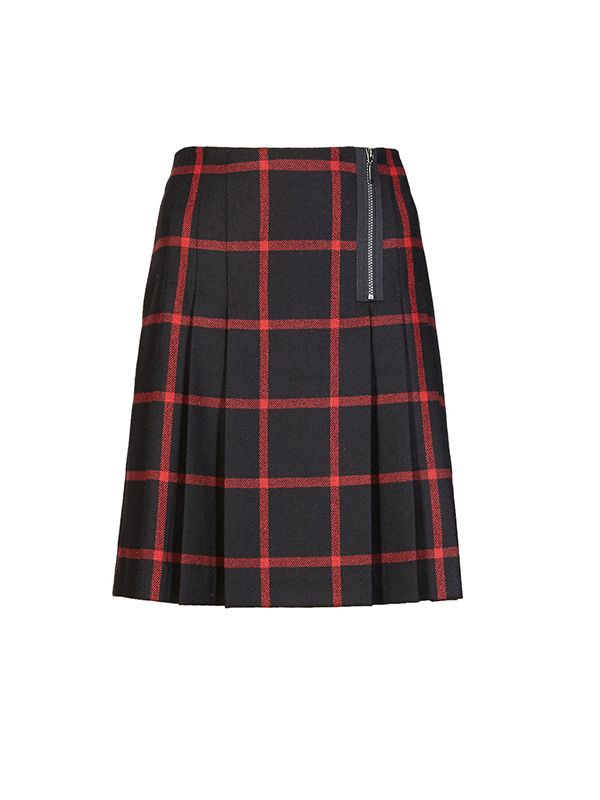 Marks & Spencer Pleated Tartan Check Mini Skirt with Wool