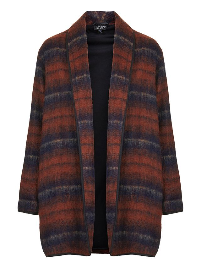 Topshop Fluffy Striped Wool Duster Jacket