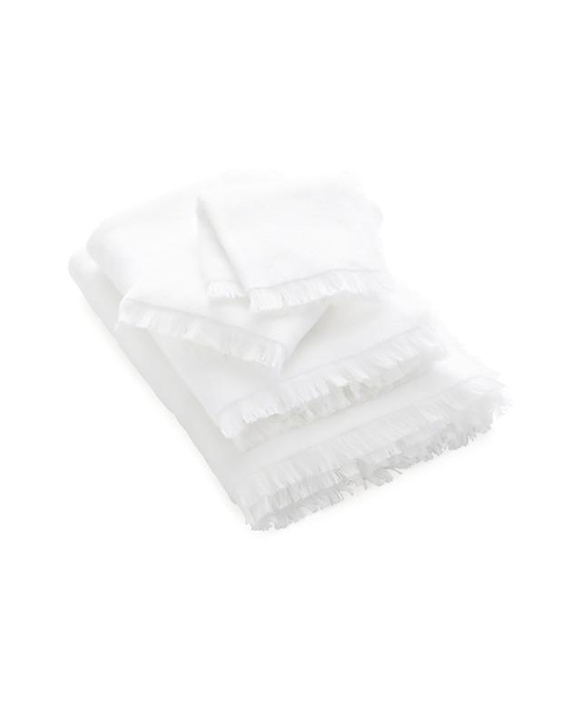 Crate & Barrel White Fringe Bath Towel
