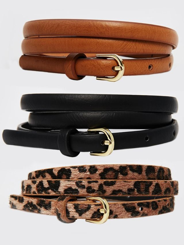 ASOS Leopard Hip and High Waist Belt In 3 Pack