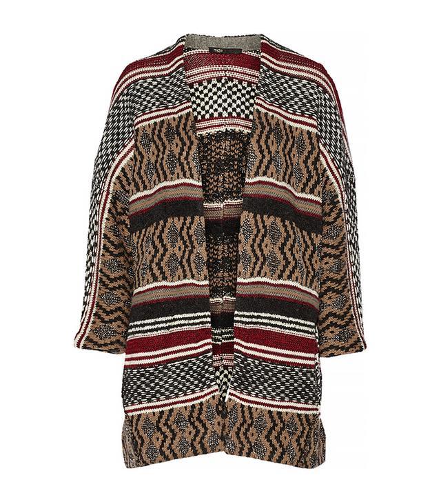 Maje Gozilla Oversized Metallic Jacquard-Knit Cardigan