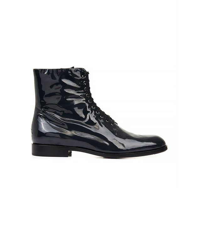 Jil Sander Navy Patent Leather Ankle Boots
