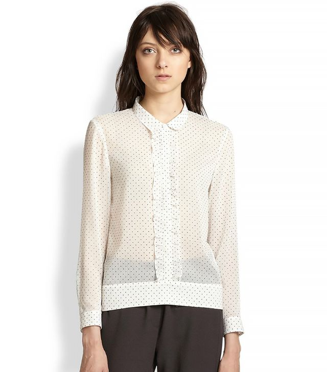 The Kooples Plumetis Polka Dot Chiffon Blouse