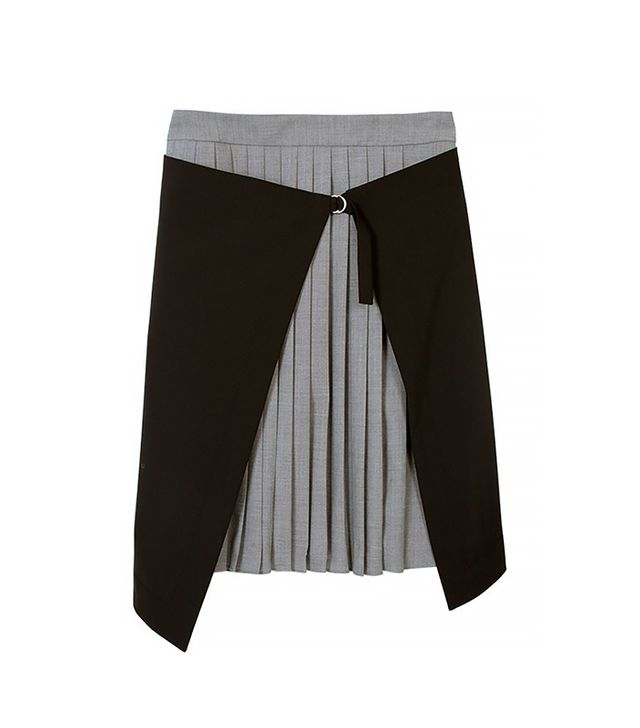 Tibi Tropical Wool Pleated Wrap Skirt