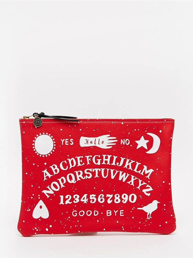 Falconwright Leather Clutch with Halloween Witchboard Print