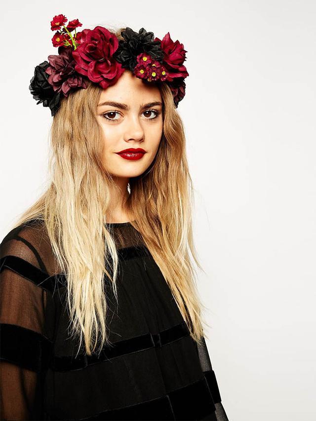 ASOS Halloween Flower Garland with Velvet Tie