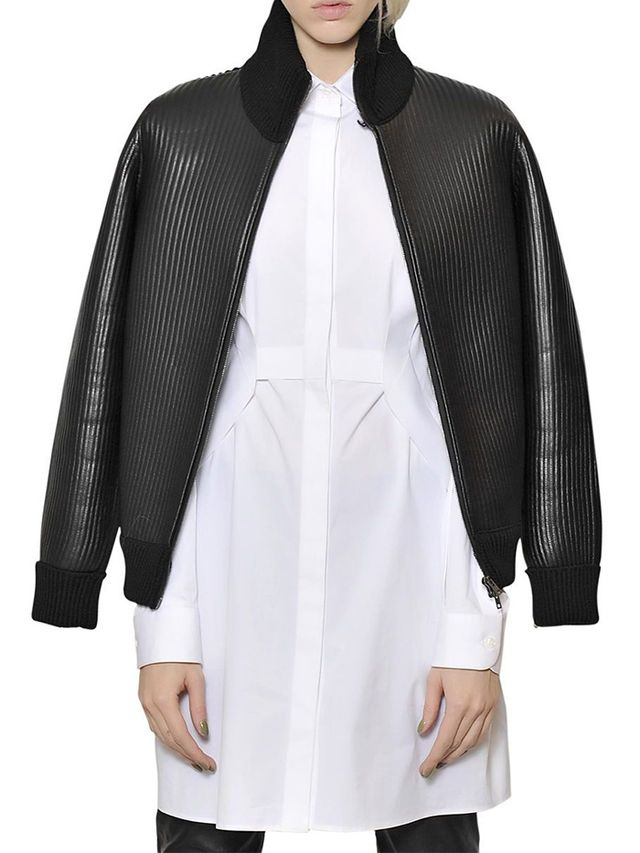 Maison Margiela Martin Wool Knit & Nappa Leather Jacket