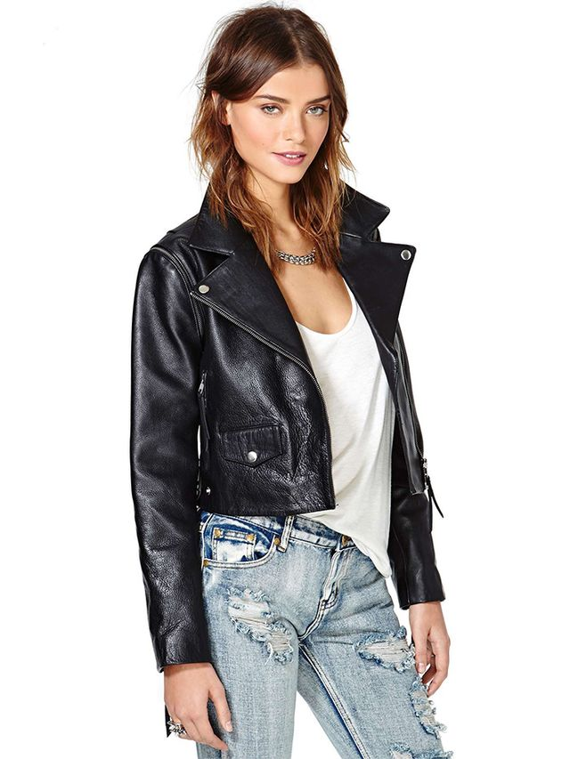 Just Female Dagman Convertible Leather Jacket