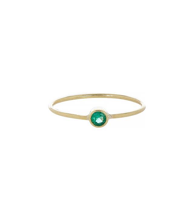 Jennifer Meyer Emerald & Gold Thin Ring