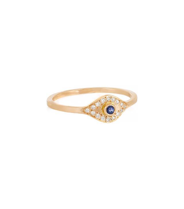 Ileana Makri Evil Eye 18-Karat Rose Gold, Diamond and Sapphire Ring