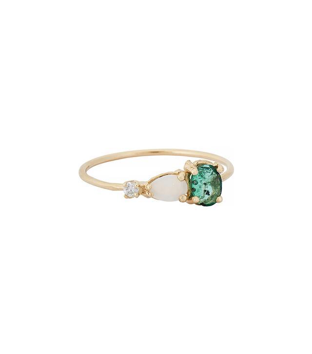 Loren Stewart Emerald, Opal & Diamond Ring