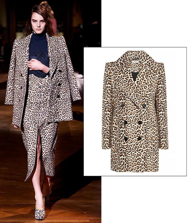 Carven Leopard-Print Felted Wool-Blend Coat