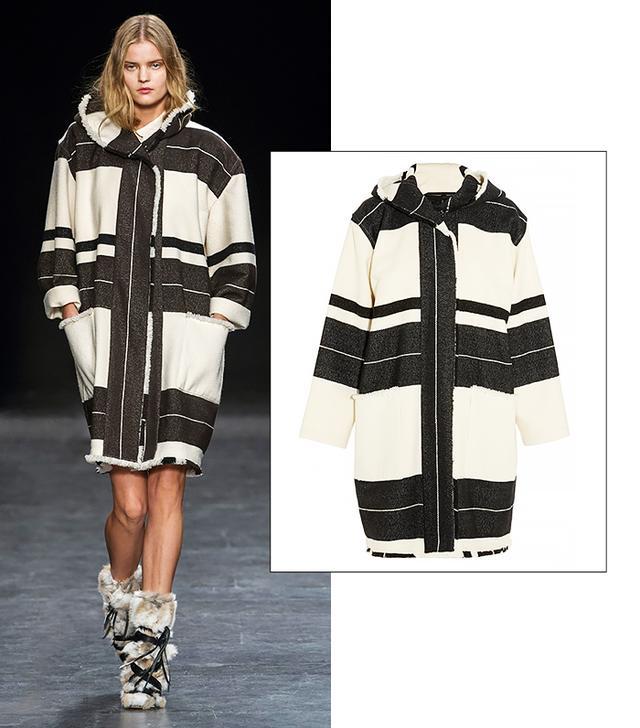 Isabel Marant Adil Hooded Striped Wool-Blend Coat