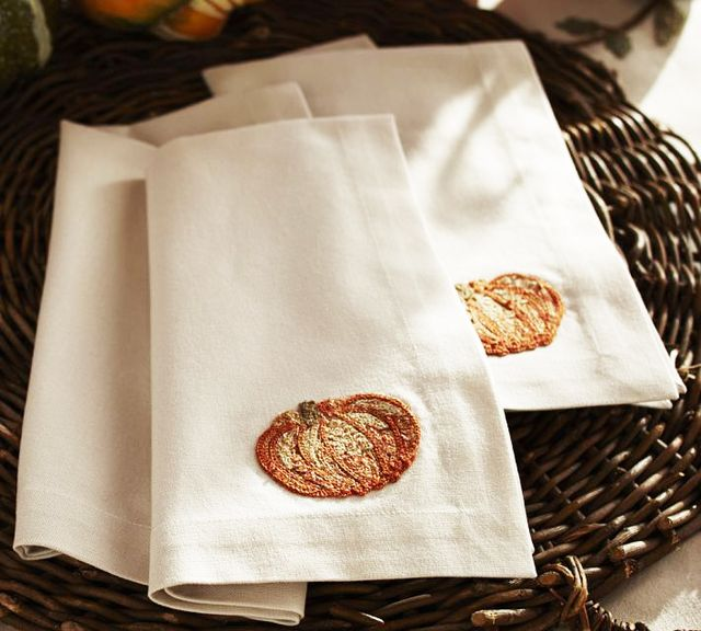 Pottery Barn Pumpkin Embroidered Napkin