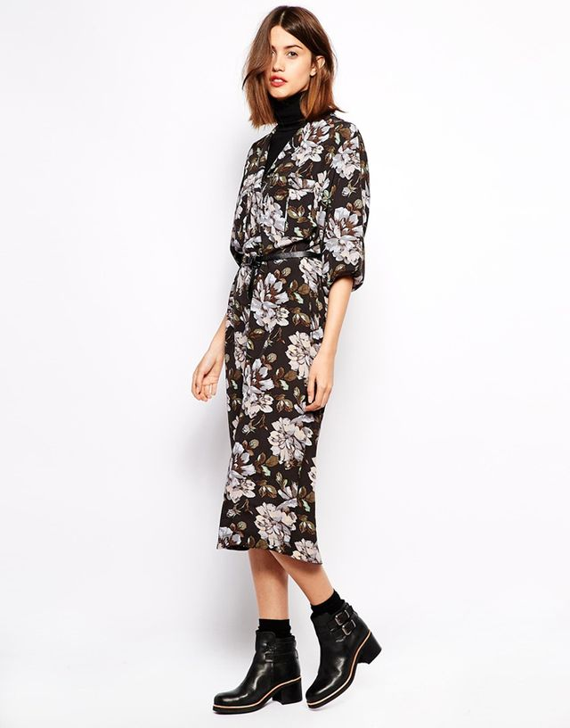 Ganni Floral Print Maxi Shirt Dress