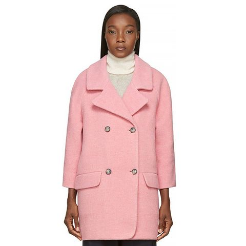 Pink Wool Double-Breasted Coat