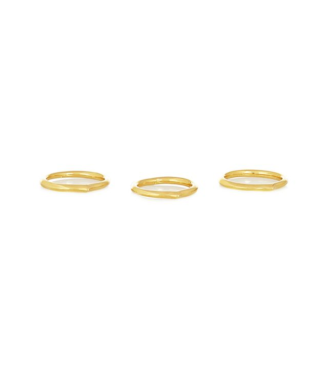 Jennifer Fisher Mini Peak Set of Three Gold-Plated Rings