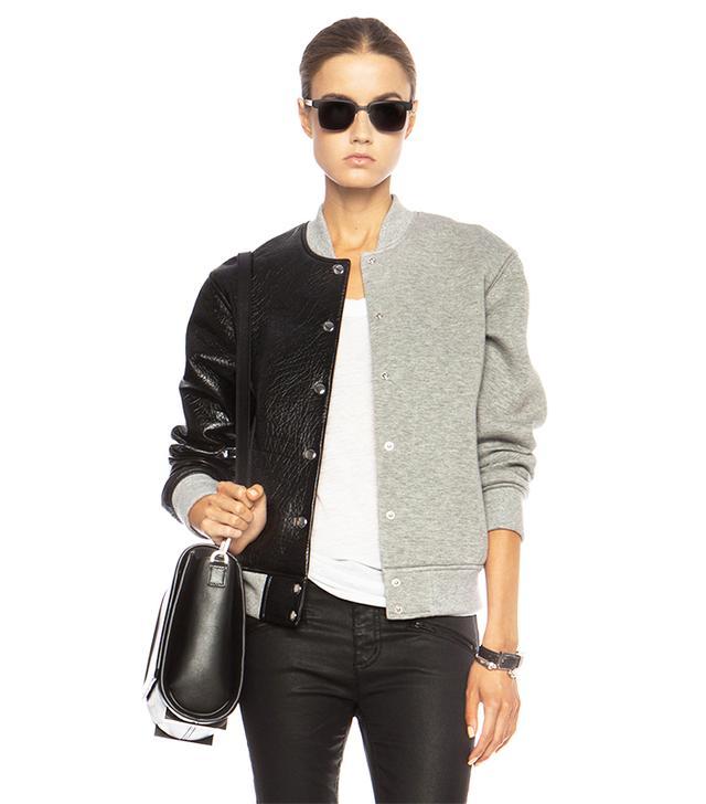 T By Alexander Wang Leather & Neoprene Half Half Varsity Jacket