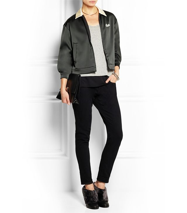 Rag and Bone Dean Embroidered Satin-Jersey Jacket