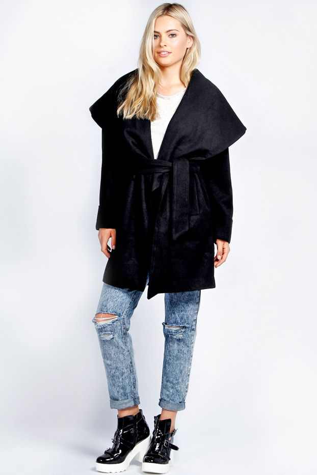 Boohoo Alannah Oversized Collar Belted Coat