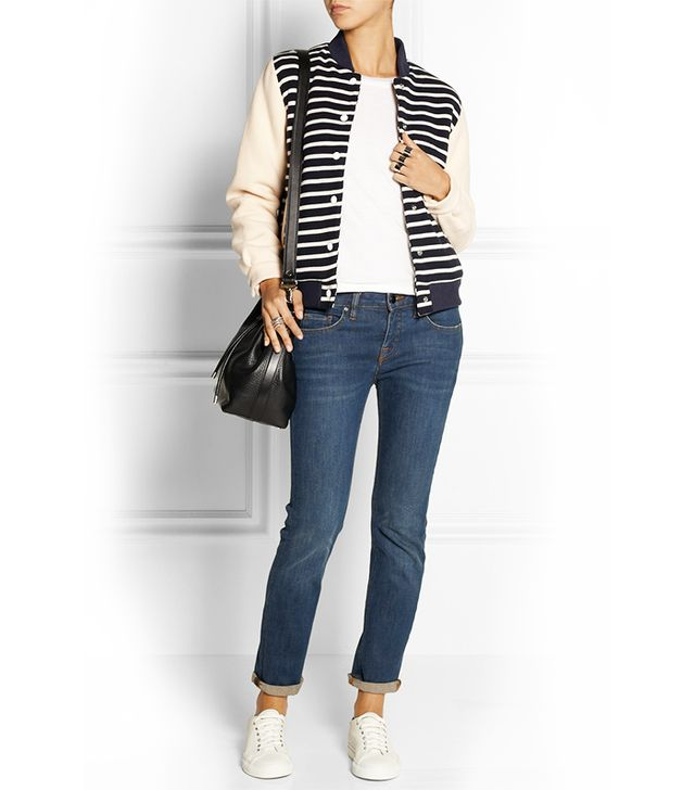 Petit Bateau Faux Shearling-Lined Striped Cotton-Jersey Jacket