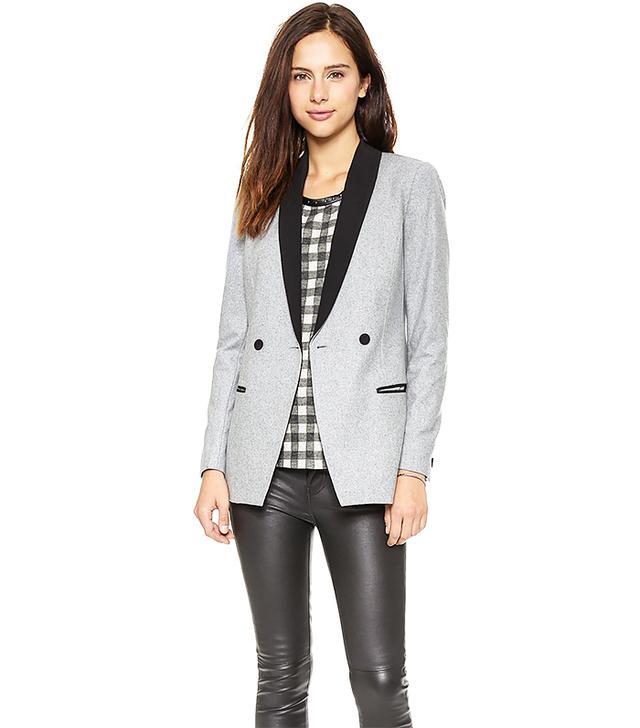Maison Scotch Wool Blend Long Tuxedo Blazer