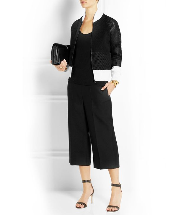 Fendi Mesh-Paneled Wool-Blend Bomber Jacket