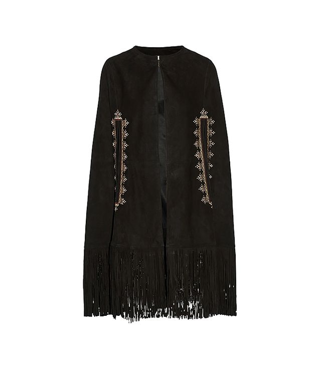 Talitha Embroidered Suede Cape
