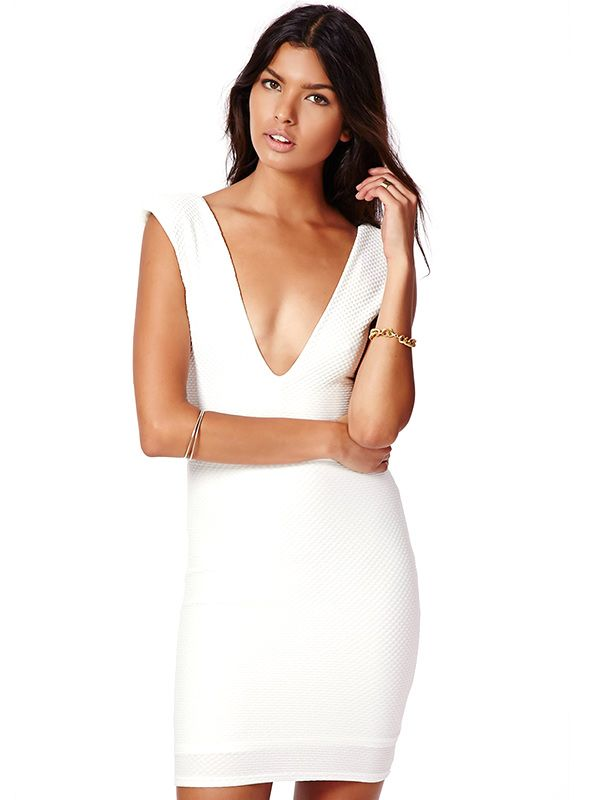 Missguided Barbara Textured V-Neck Mini Dress