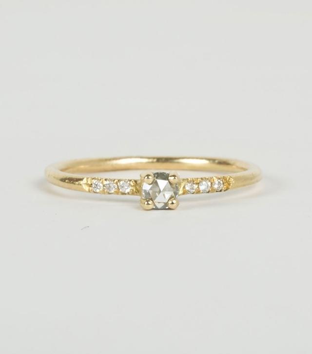Blanca Monrós Gómez Little Pronged Solitaire Ring with Pavé Diamonds