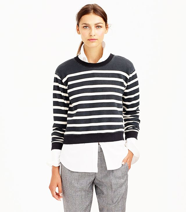 J. Crew Striped Cropped Sweatshirt