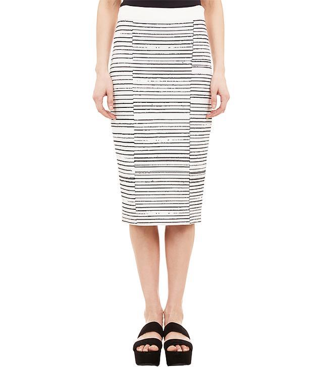 A.L.C. Broken-Stripe Compact Knit Pencil Skirt
