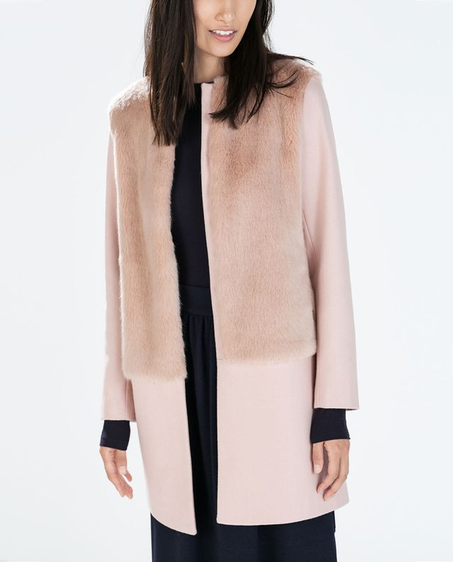 Zara Mixed Fur Round Neck Coat