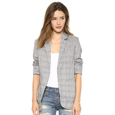 Detailed Collar Houndstooth Blazer