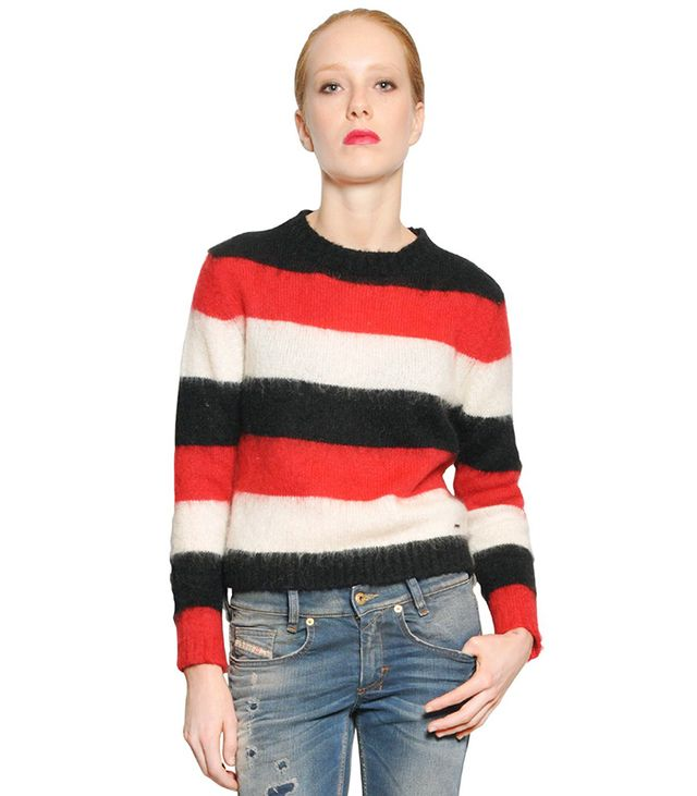 Diesel Washed Striped Mohair Blend Sweater