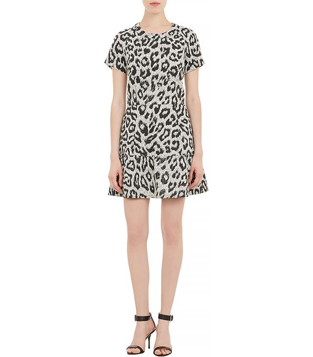 Sea Leopard-Pattern Flounce Dress